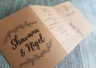 NZ wedding invitations, designed and printed by Pinc