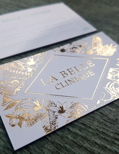 A striking floral design for La Belle Clinique business cards