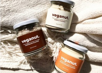 Labels printed by Pinc for Veganut's Protein Powders