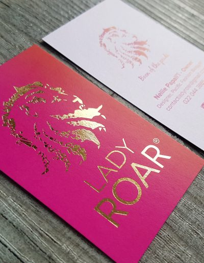 Brightly coloured business cards for Lady Roar