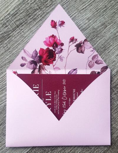 custom lilac floral envelope nz made
