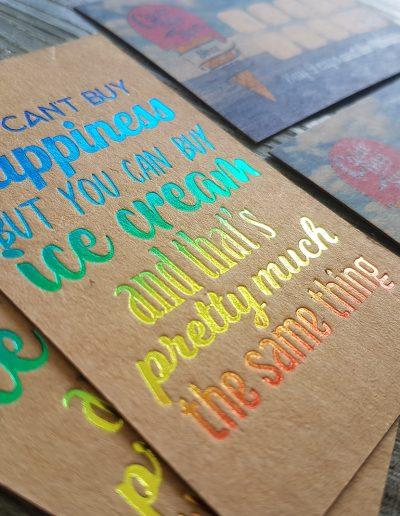 Rainbow foil printed loyalty cards