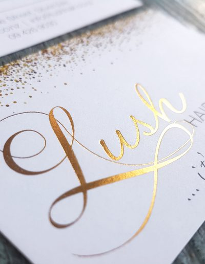 Logo design, card design, and printing with gold foil - all by Pinc!