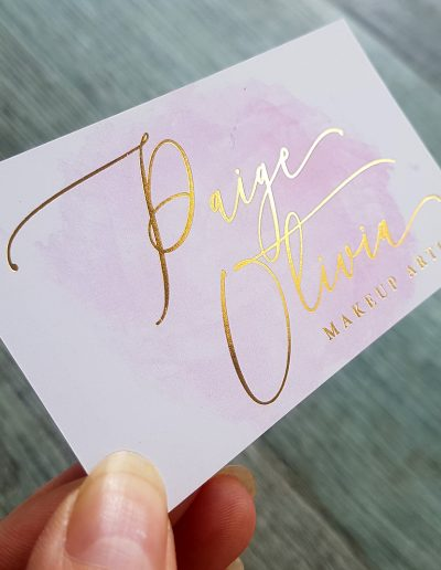 Makeup artist business cards, gold foil on blush digital print NZ