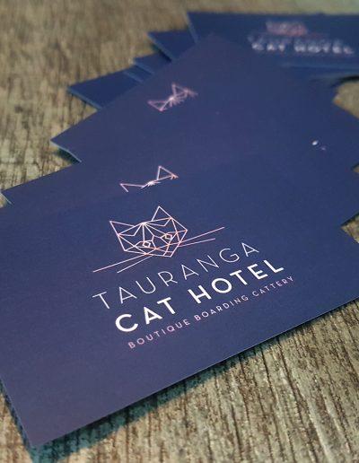 Matt laminate business cards for Tauranga Cat Hotel