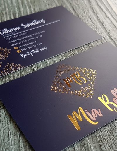 Navy and gold business cards, logo and cards designed and printed by Pinc