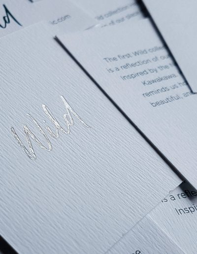 "Silver foil stamped logo onto info cards for The Mint Republic's new range ""Wild"""