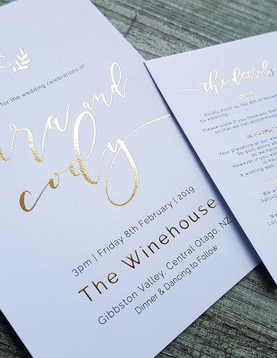 Graphic design studio for modern, elegant gold wedding invitations