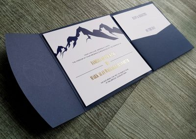 Blue pocketfold envelope with mountain theme