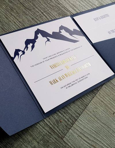 Pocketfold invitation set NZ, gold and navy