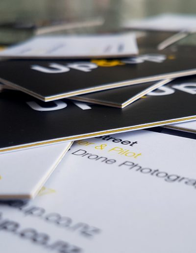 3 layer business cards, double sided digital print on white with yellow in between for a coloured seam