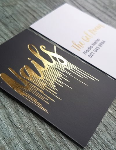 Dripping gold on black, NAILS business cards