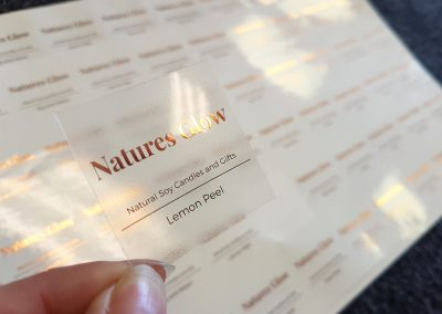 Foil printed stickers for for Nature's Glow candles