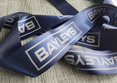 Navy printed ribbon for Bayleys