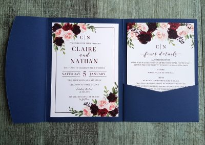 Navy and burgundy floral pocketfold invitation set