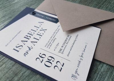 geometric invitation with triangle flap envelope