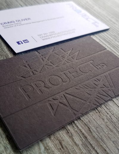 Embossed business cards, debossed indented print finish