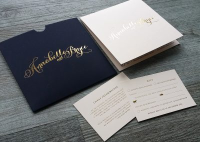 Ivory, gold and navy invitation set