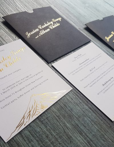 Gold foil printed wedding invitation set with custom sleeves