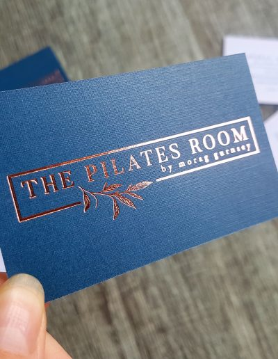 One of our textured cards printed with rose gold foil, logo designed by Pinc