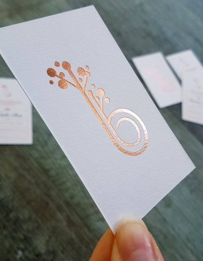 Rose gold foil stamped logo on Baby's Breath Bridesmaid's business cards