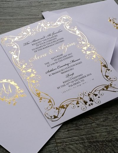 Gold and white regal vineyard invitation set