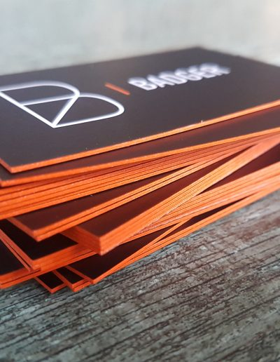 Business cards with bold coloured edges