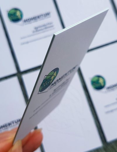 Ultra thick business cards with green seam