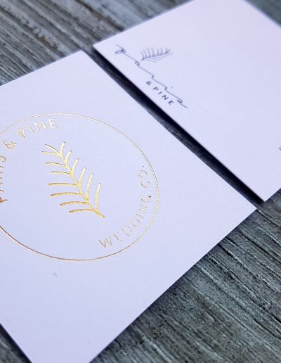 Square business cards for Paris & Pine, gold foil + digital print