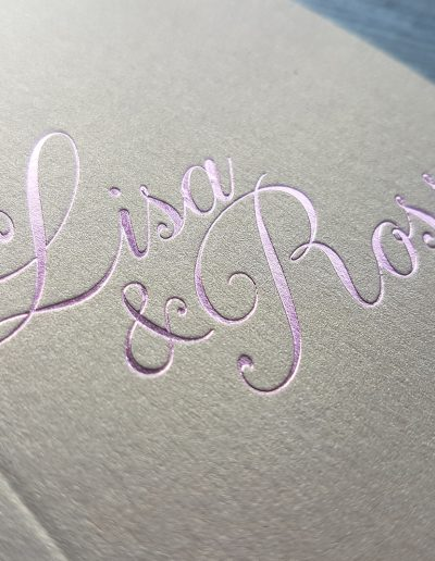 Pink foil on gold pocketfold envelope NZ