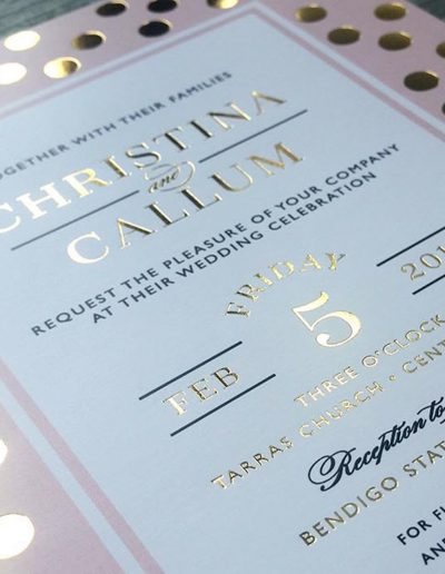 Pink and gold invitations