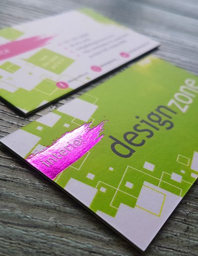 Pink foil pressed onto 3 layer sandwiched business cards for local business, Design Zone