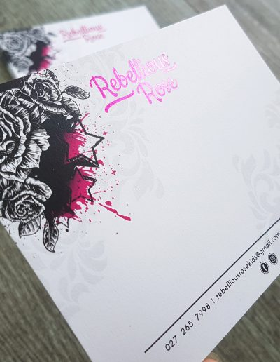 Pink foil stamped postcards + colour printing on a smooth white card stock