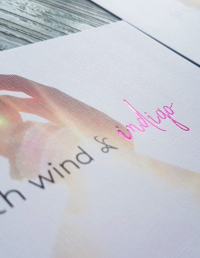 Pink foil on textured card