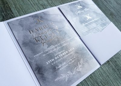 Silver foil wedding invitation in white linen pocketfold, designed and printed by Pinc