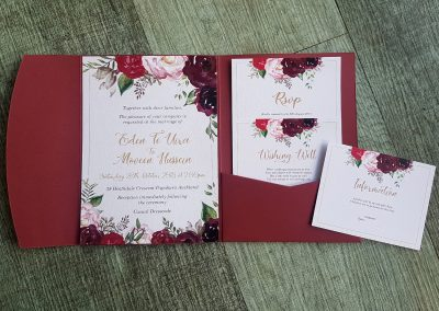 Floral wedding invitation design, burgundy pocketfold set