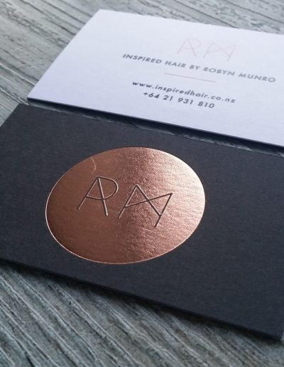 Blush foil on duplexed business cards
