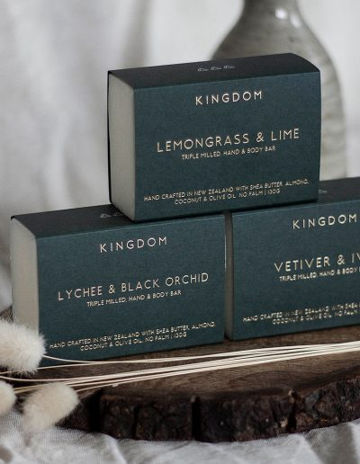 Kingdom Hand & Body Bar wraps, printed using gold foil stamp onto forest green card