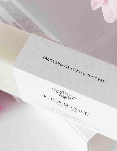 Digital black printed onto textured white card for Kearose