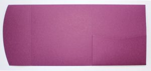 Raspberry square pocketfold envelope