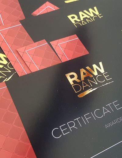 Certificates with gold foil