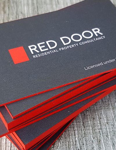 Charcoal and red business cards with bold red edges