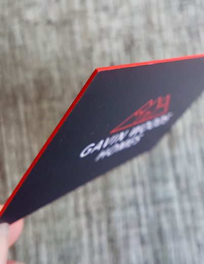 Close up of the red coloured edge on ultra thick business cards