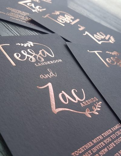 Rose gold and charcoal wedding invitations