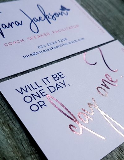 Rose gold foil stamp on business cards for NZ life coach