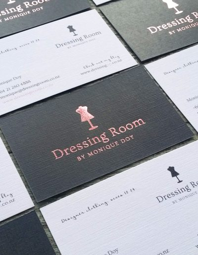 Rose gold logo printed on linen card for NZ business
