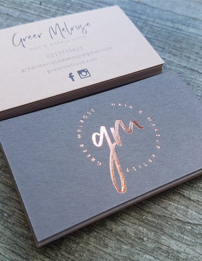 Rose gold foil and charcoal card business cards