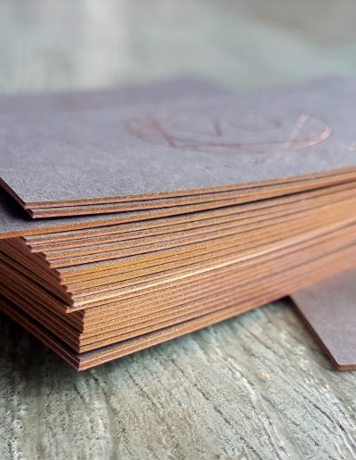 Rose gold coloured sides on thick charcoal business cards