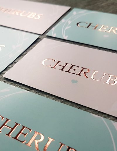 Pastel business cards for Cherubs