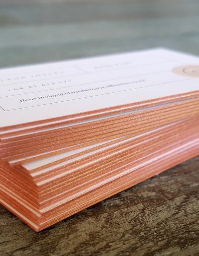 Rose gold metallic edging on business cards